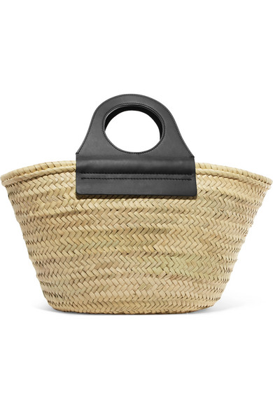 HEREU Cabas leather-trimmed straw tote