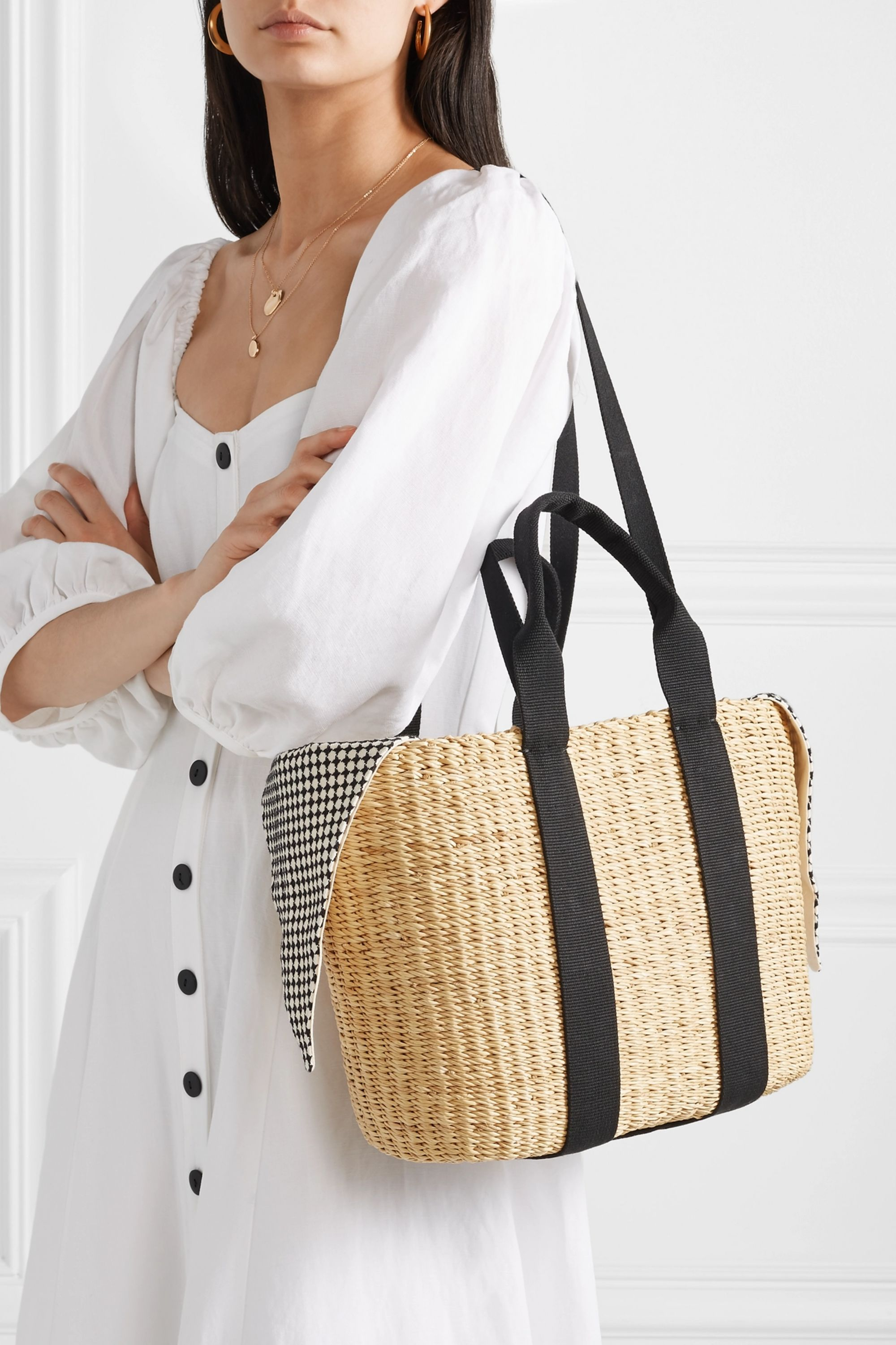 Muuñ Caba straw and printed cotton-canvas tote