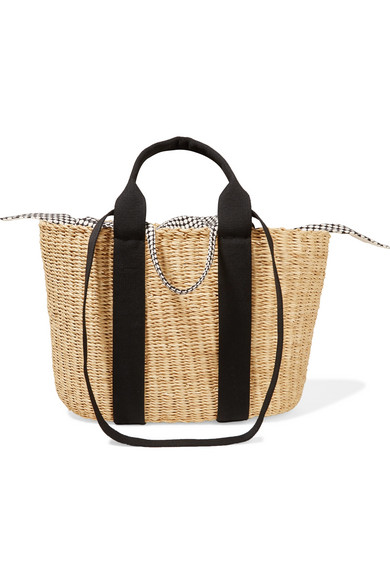 MUUN CABA STRAW AND PRINTED COTTON-CANVAS TOTE