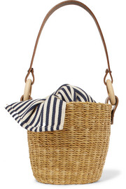 Seau straw and striped cotton-canvas bucket bag
