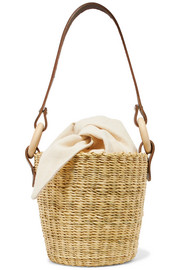 Seau straw and printed cotton-canvas bucket bag