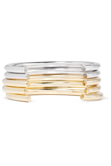 Jennifer Fisher Set Of Five Gold And Silver-plated Cuffs KlAh2r4
