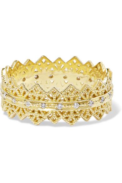 GRACE LEE Eternity Lace 14-Karat Gold Diamond Ring