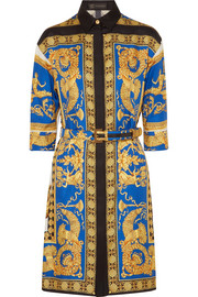 Printed silk-twill shirt dress