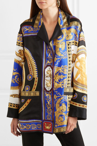 grande collection taille 40  Oversized printed silk-twill blouse