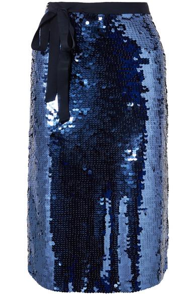 J.Crew - Yams Grosgrain-trimmed Sequined Crepe Skirt - Navy