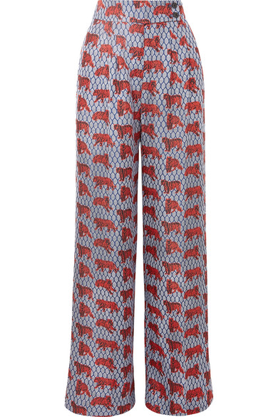 J.Crew - Frankie Printed Silk-twill Wide-leg Pants - Blue