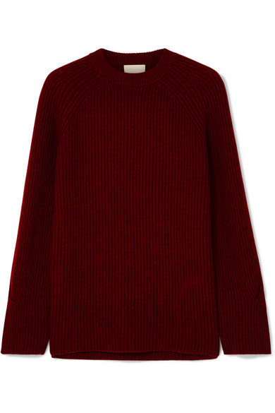 J.Crew - Verde Ribbed-knit Cashmere Sweater - Burgundy