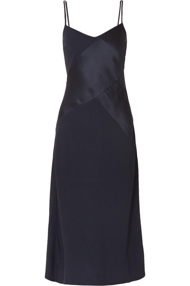 J.Crew - Duckling Paneled Crepe And Satin Midi Dress - Navy