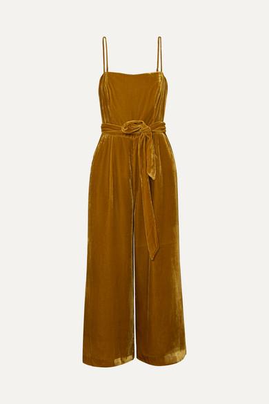 J.Crew - Marseille Belted Velvet Jumpsuit - Gold