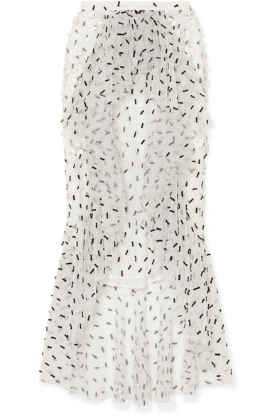 RODARTE Ruffled Embellished Tulle Midi Skirt in White