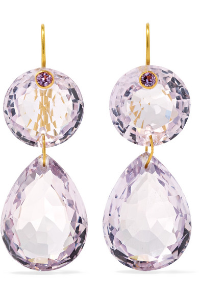 Marie-Hélène de Taillac Girandole 22-karat Gold Amethyst Earrings