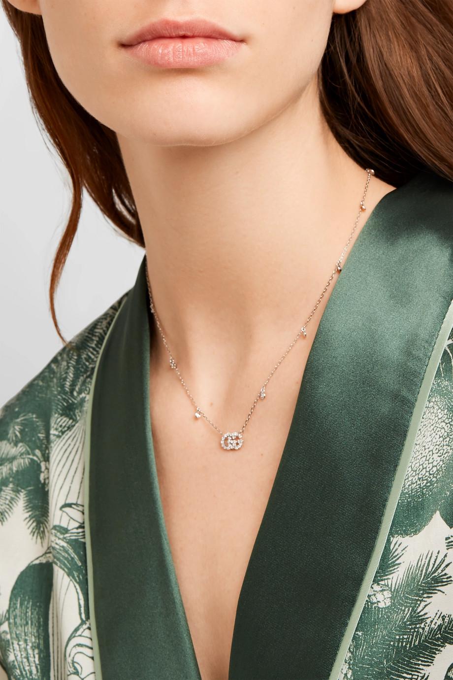 Gucci 18K 白金钻石项链