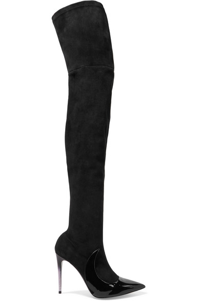 Stocking Ala Suede And Patent-Leather Over-The-Knee Boots