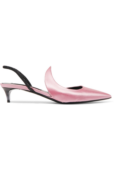 Kitten Ala Satin And Patent-Leather Slingback Pumps, Baby Pink