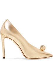 Jimmy Choo Sadria 100 embellished metallic leather pumps