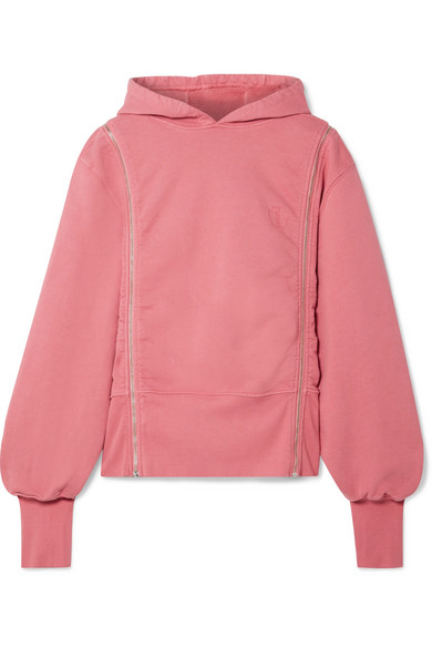 TRE Zip-Embellished Cotton-Jersey Hoodie in Pink