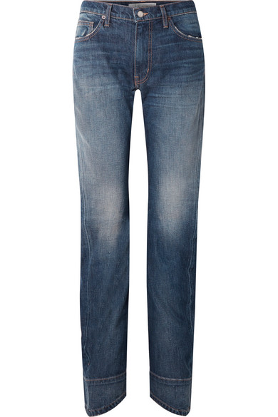 BETH DISTRESSED HIGH-RISE STRAIGHT-LEG JEANS