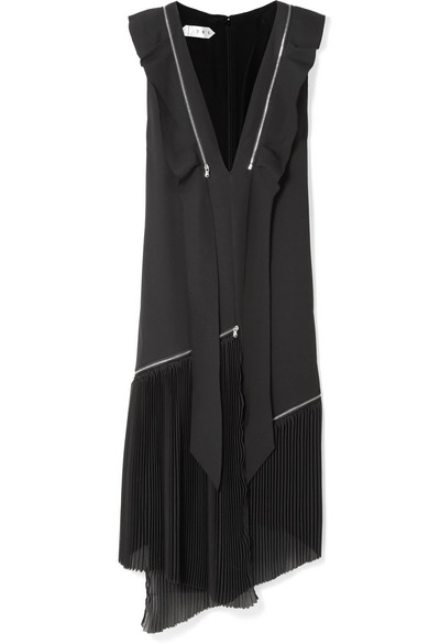 TRE Liberty Asymmetric Zip-Detailed Silk-Blend Crepe Midi Dress in Black