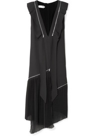 TRE Liberty asymmetric zip-detailed silk-blend crepe midi dress
