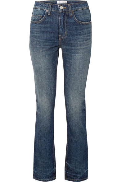 TRE Binx Distressed Mid-Rise Straight-Leg Jeans in Mid Denim