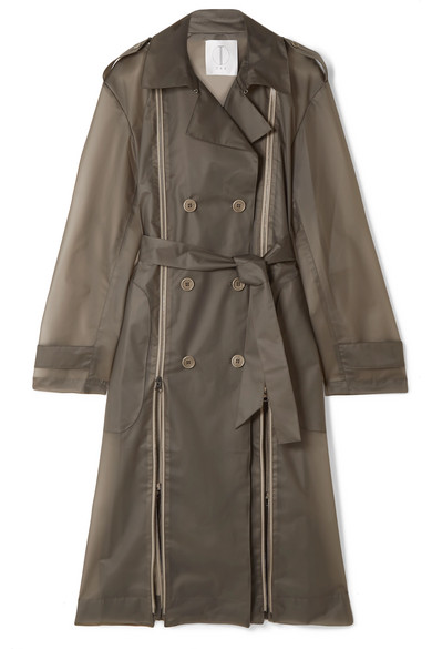 TRE Zip-Detailed Matte-Pvc Trench Coat in Anthracite