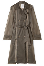 TRE Zip-detailed matte-PVC trench coat