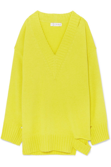 TRE Kirsten Oversized Cutout Cashmere Sweater in Bright Yellow