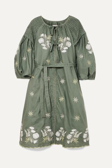 Smocked embroidered linen dress