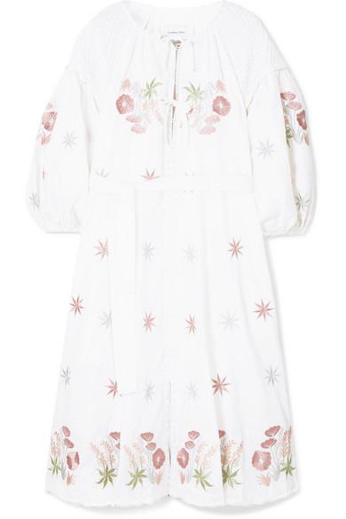 41db014efea Innika Choo. Smocked embroidered linen dress