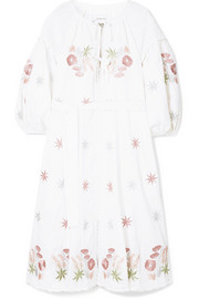 Innika Choo Smocked embroidered linen dress