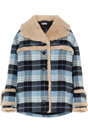 Miu Miu Shearling-trimmed checked wool-blend flannel jacket