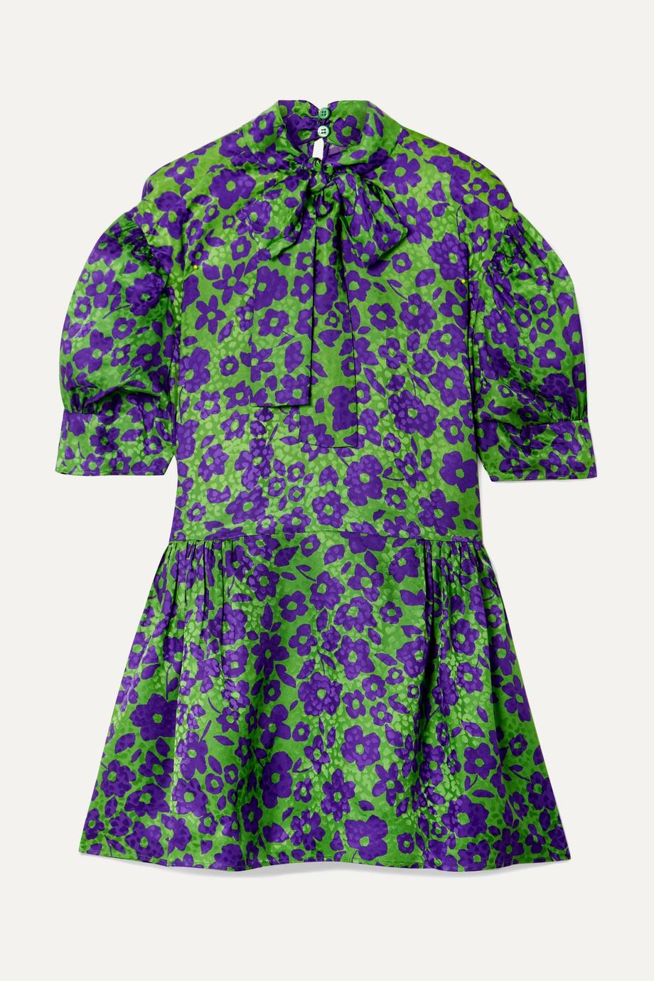 Miu Miu Pussy-bow silk-jacquard mini dress