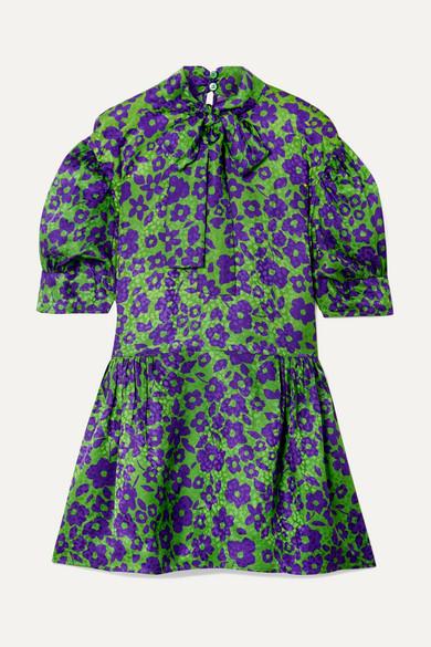 25cc0b291dd20 Miu Miu Pussy-Bow Silk-Jacquard Mini Dress In Green   ModeSens
