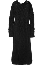 Cable-knit mohair-blend maxi dress