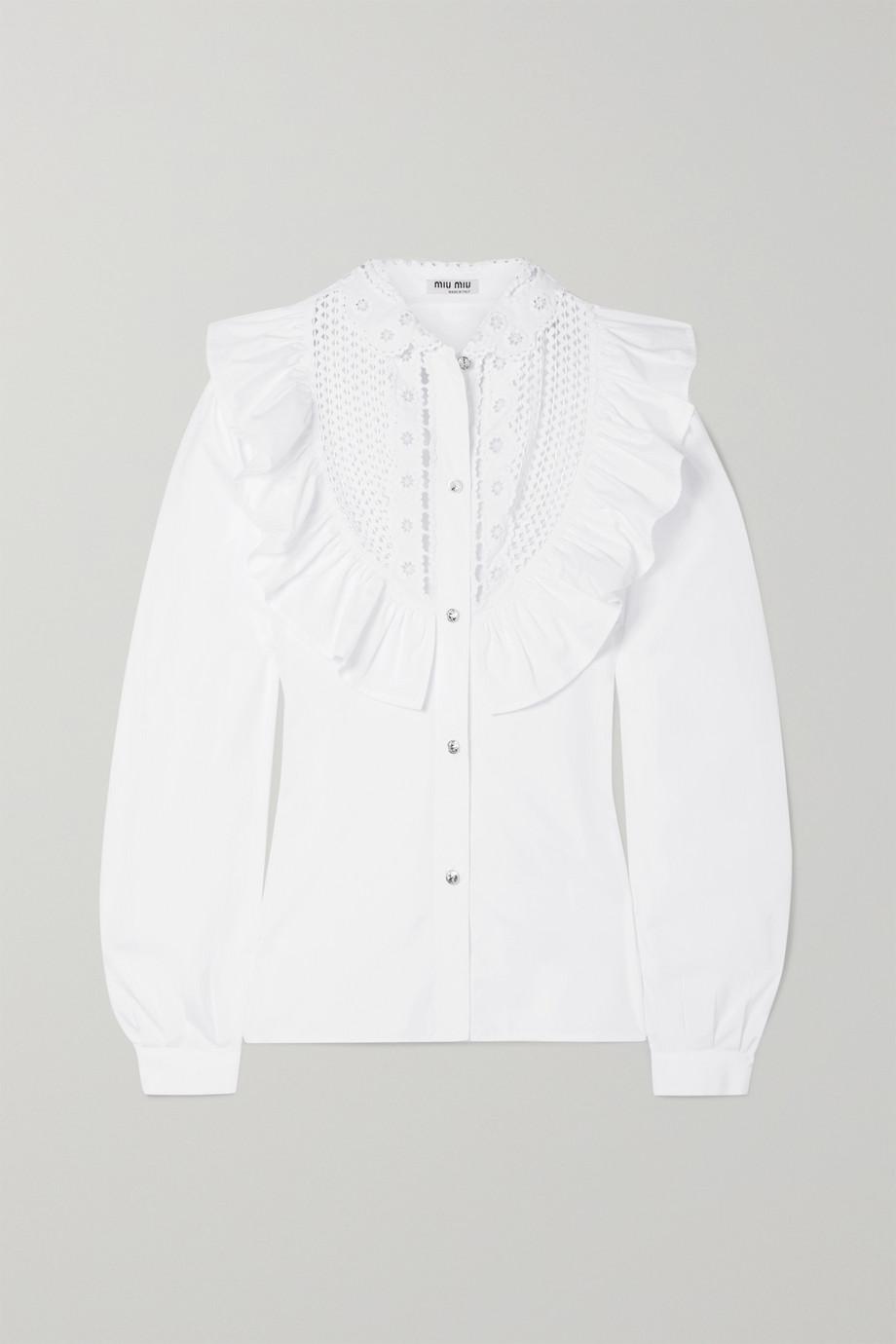 Miu Miu Crystal-embellished ruffled cotton-poplin blouse