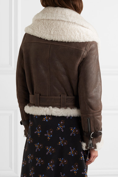 Burberry Jackets Shearling-trimmed textured-leather jacket