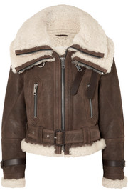 Burberry Shearling-trimmed textured-leather jacket