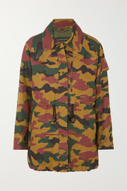 Burberry Camouflage-print cotton and ramie-blend canvas jacket
