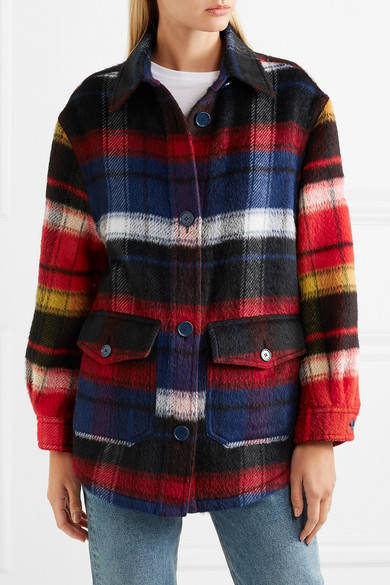 Burberry Shirts Checked brushed alpaca and wool-blend shirt