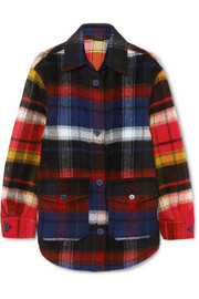 Burberry Checked brushed alpaca and wool-blend shirt