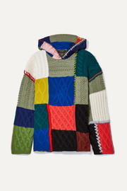 Burberry Hooded patchwork wool-blend sweater