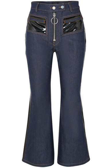 ELLERY Pedestrian Cropped Pvc-Trimmed Flared Jeans in Indigo