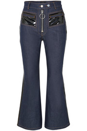 Pedestrian cropped PVC-trimmed flared jeans