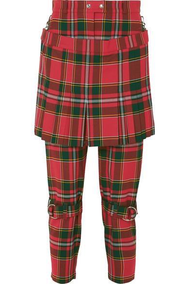 Layered Tartan Wool-Blend Slim-Leg Pants, Red Multi