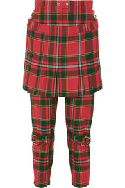 Burberry Layered tartan wool-blend slim-leg pants
