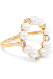 Rond de Perle 18-karat gold, diamond and pearl ring