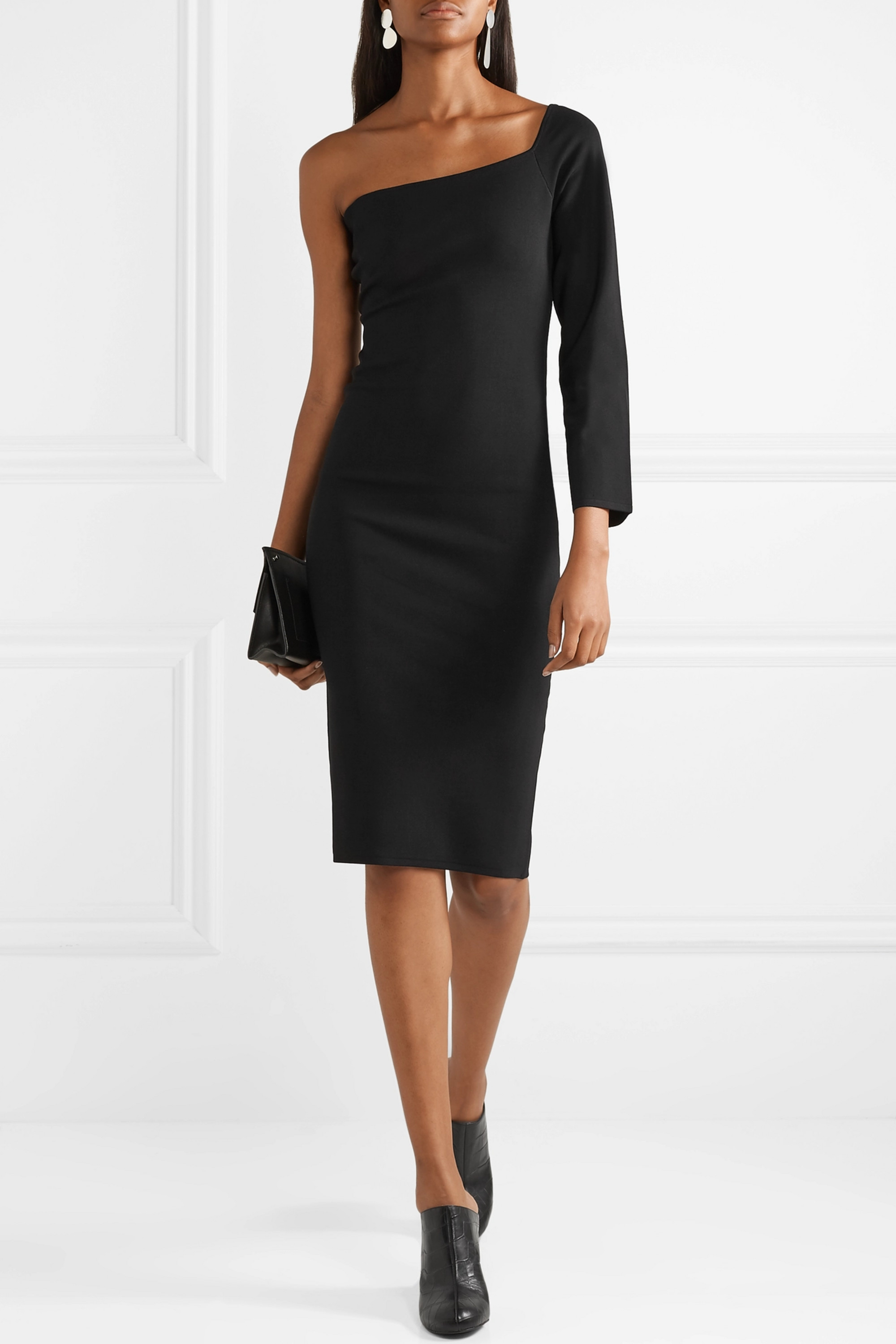 Solace London The Fiorella one-shoulder stretch-knit dress