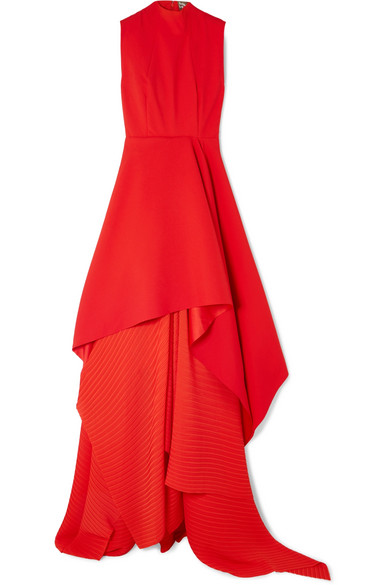 SOLACE LONDON The Serafine asymmetric pleated crepe and chiffon gown