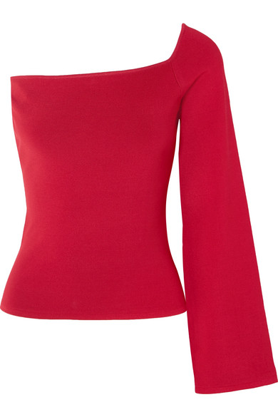 Solace London - The Renata One-shoulder Stretch-knit Top - Red